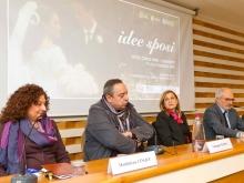La psicologa Maddalena Cinque con lo chef Giuseppe Aversa con la nutrizionsta Patrizia Zuliani e il giornalista Antonino Siniscalchi